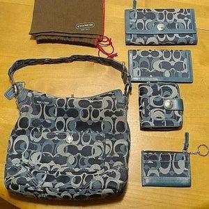 Coach Chelsea Signature Blue Handbag Purse Wallet